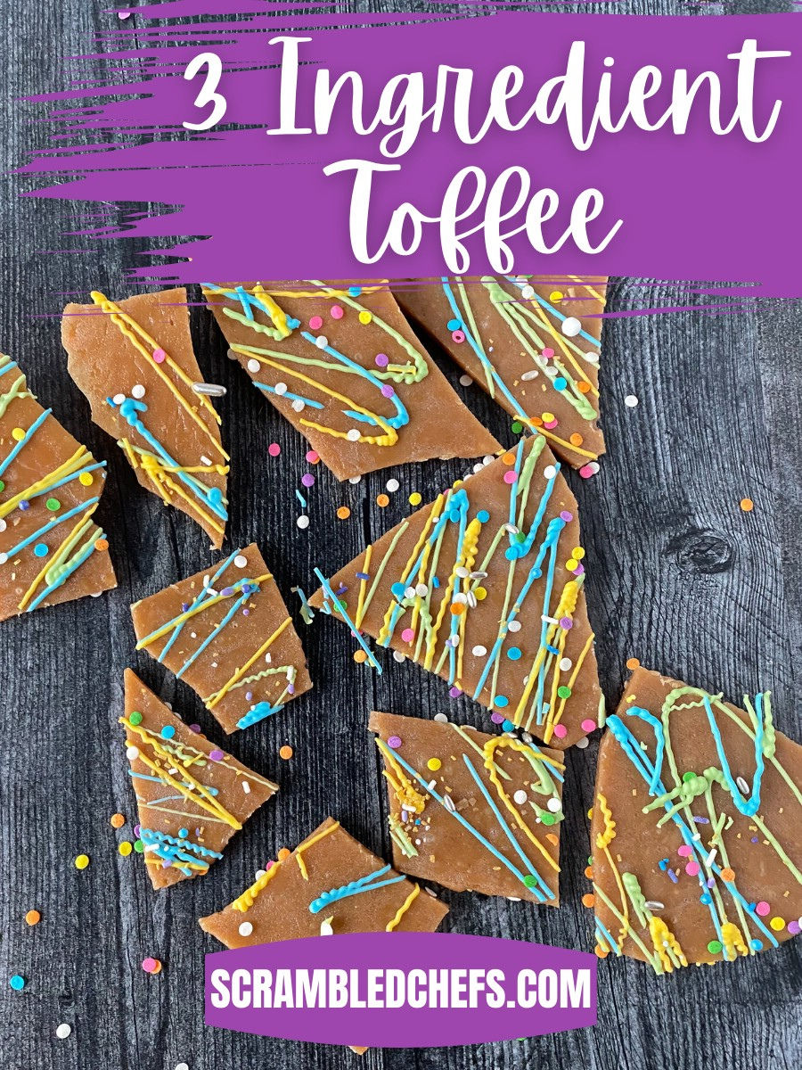Decorated toffee laying on black table