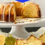 Lemon lime cake on cake stand