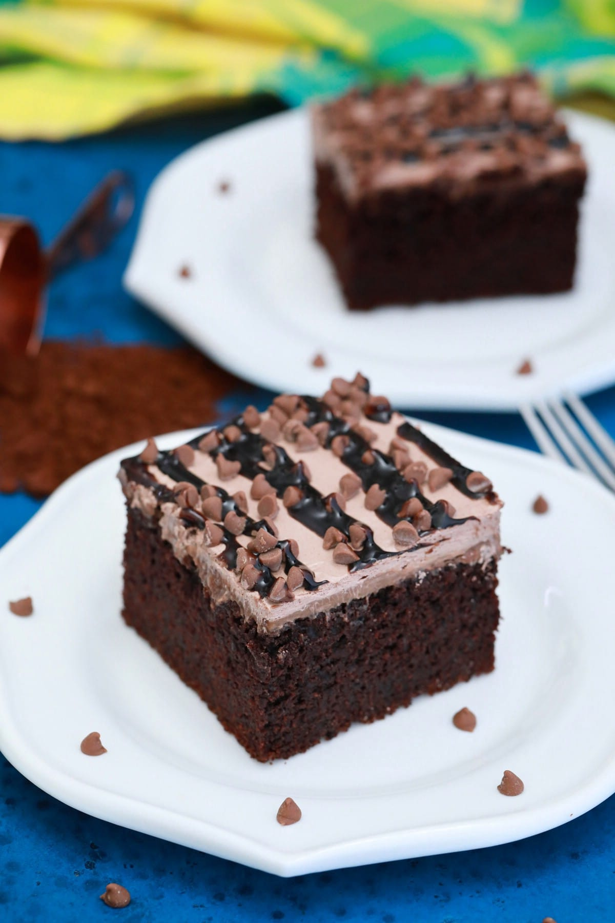 Two white plates with chocolate cake slices
