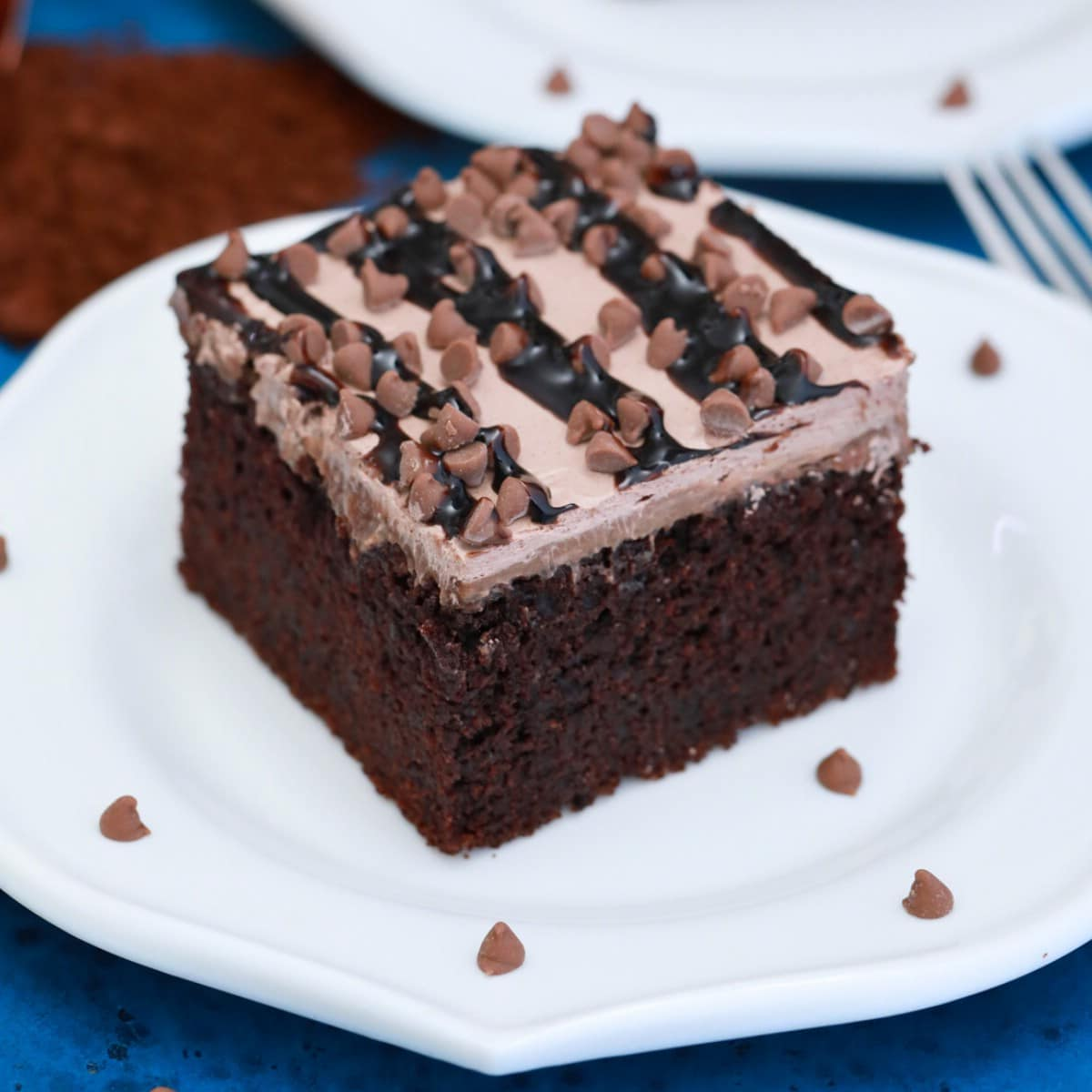 Slice of chocolate cake on white plate with mini chocolate chips