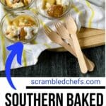 Baked banana pudding in a glass bowl
