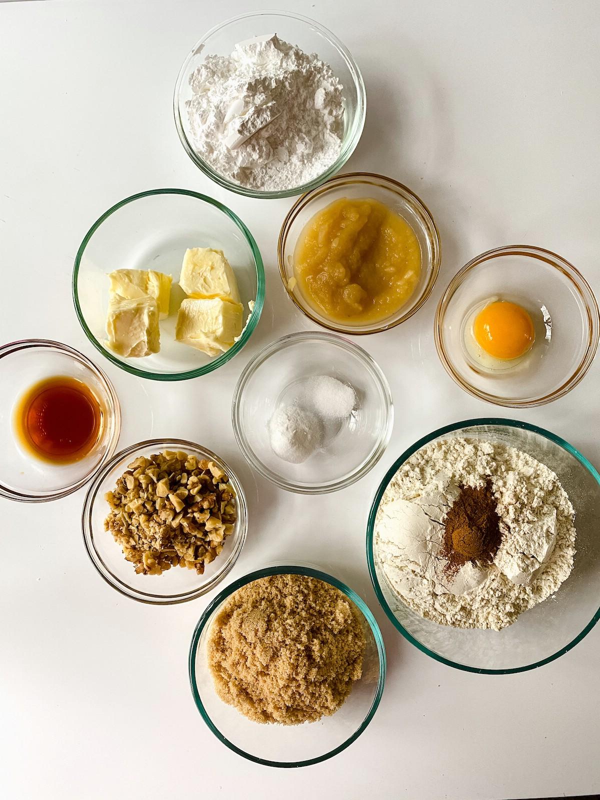 Brown butter cookies ingredients in bowls