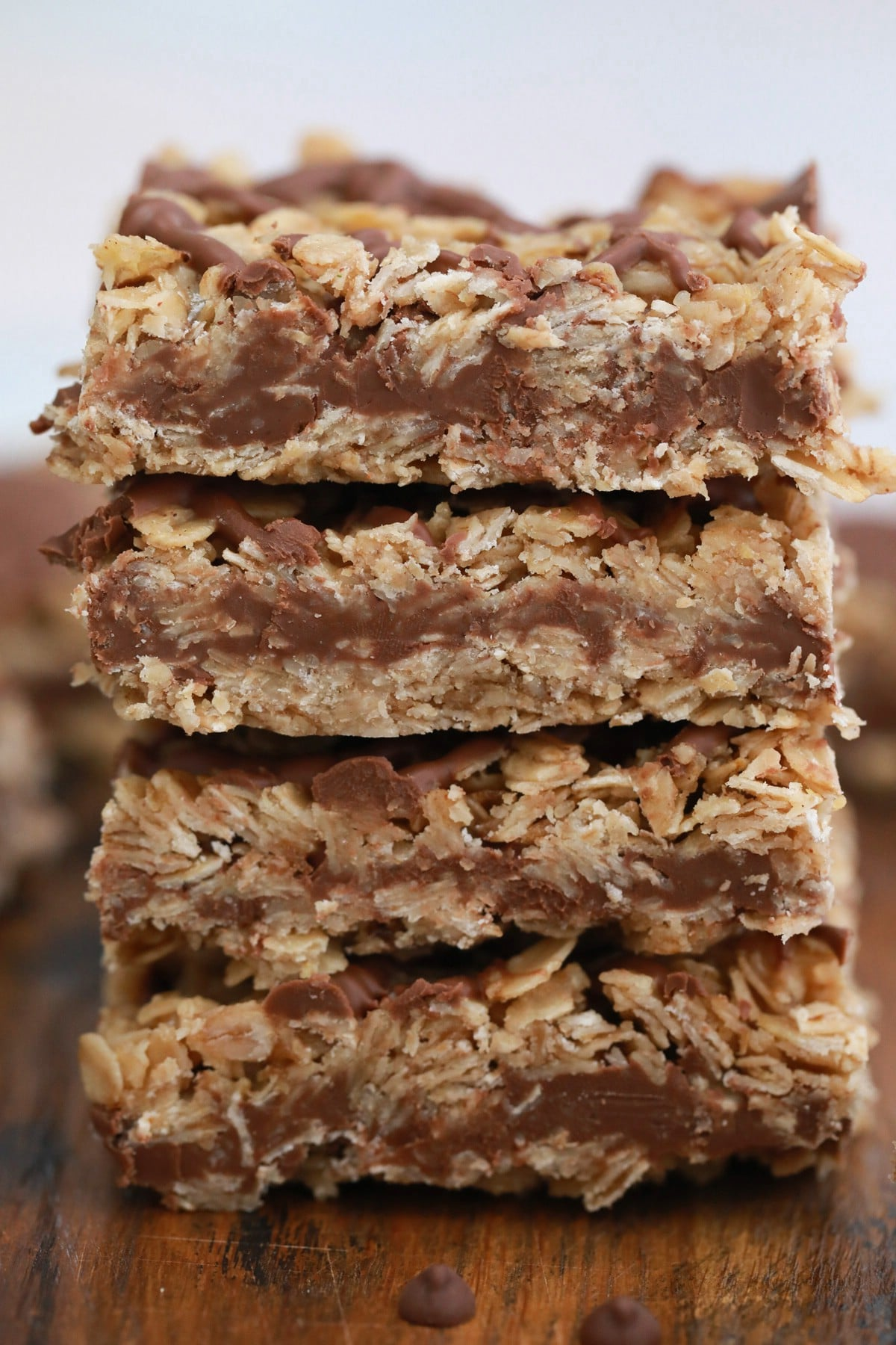 4 oatmeal bars stacked on table