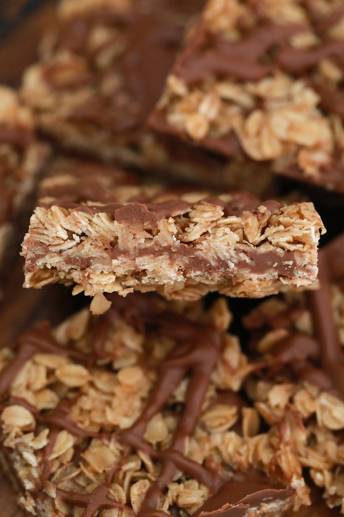 A stack of chocolate oatmeal bars