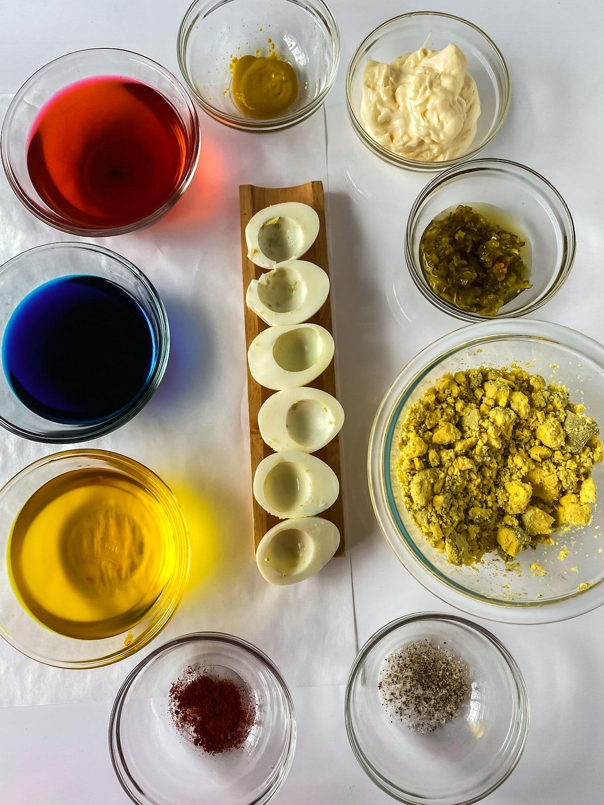 Ingredients for Easter deviled eggs