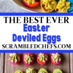 Collage image of dyed deviled eggs on cutting board and in bowl