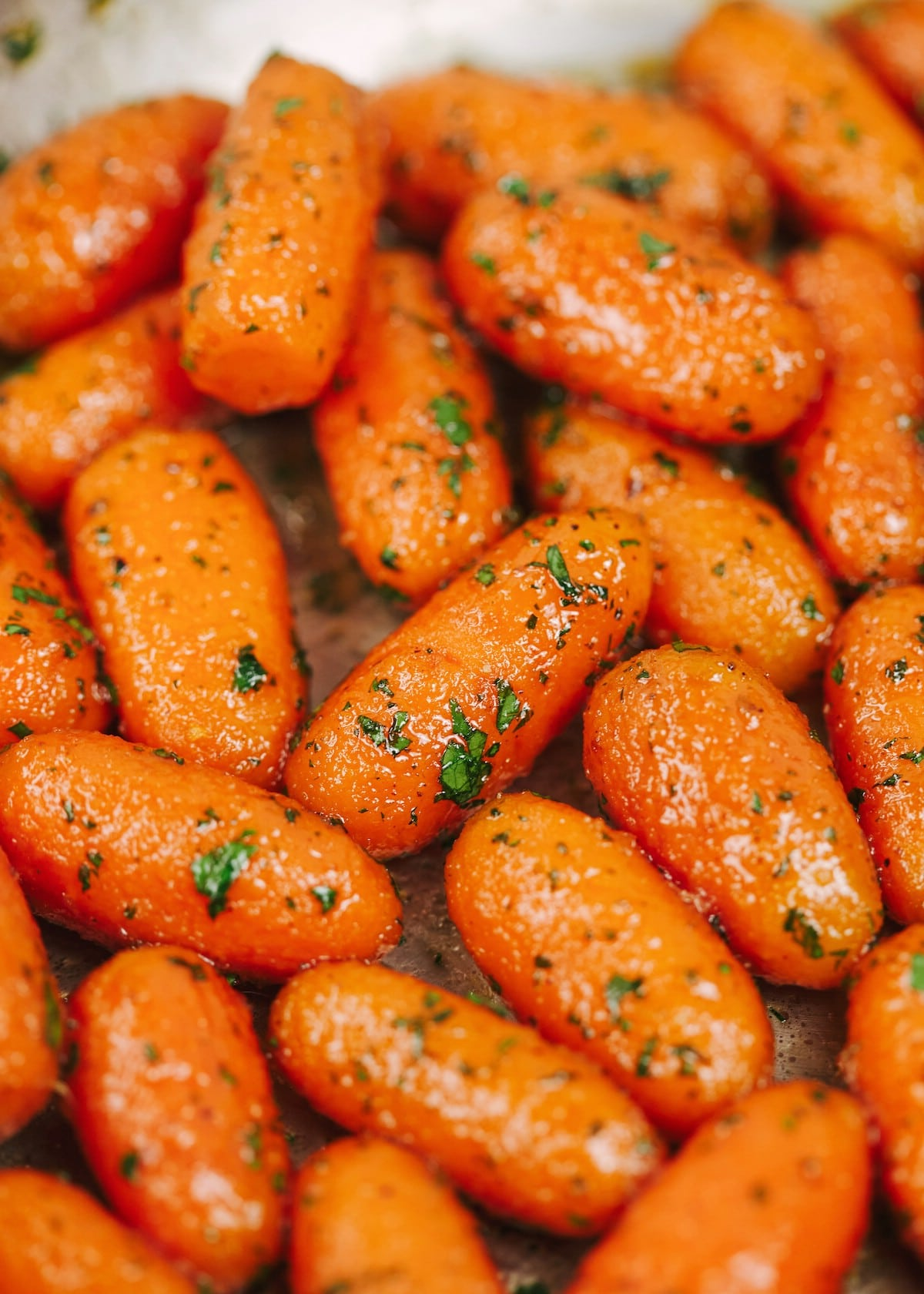 Close up of carrots in skillet