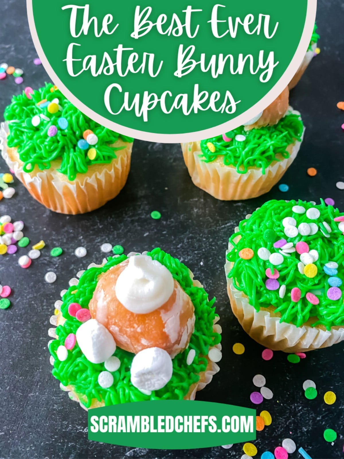 Cupcakes on table pinterest image with green banner that says the best ever easter bunny cupcakes