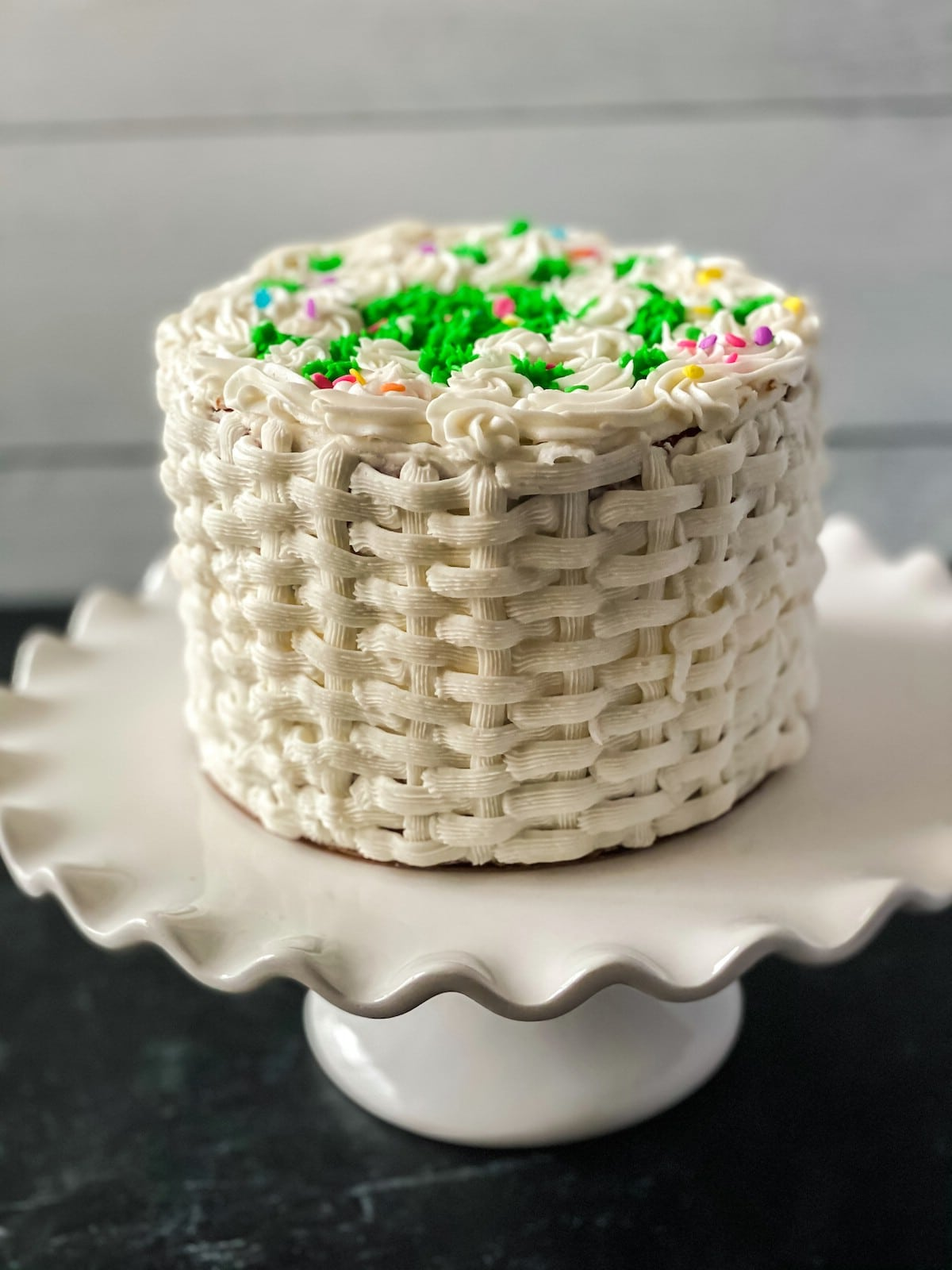 Easter cake on white cake stand