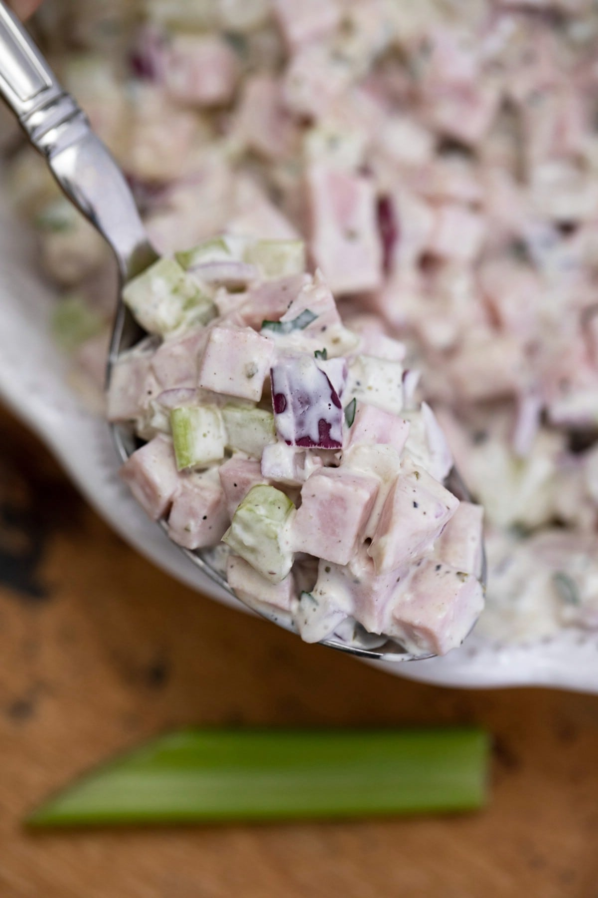 Spoon of ham salad