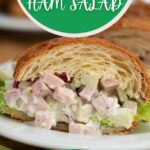 Slice of ham salad sandwich on croissant on white plate