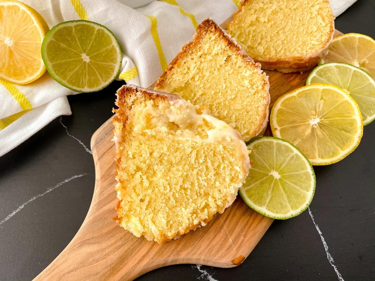 Slices of lemon lime bundt cake on cutting board