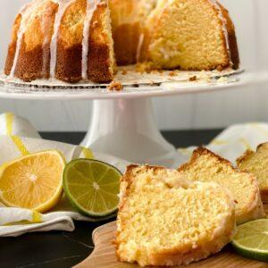 Lemon lime bundt cake on white cake stand