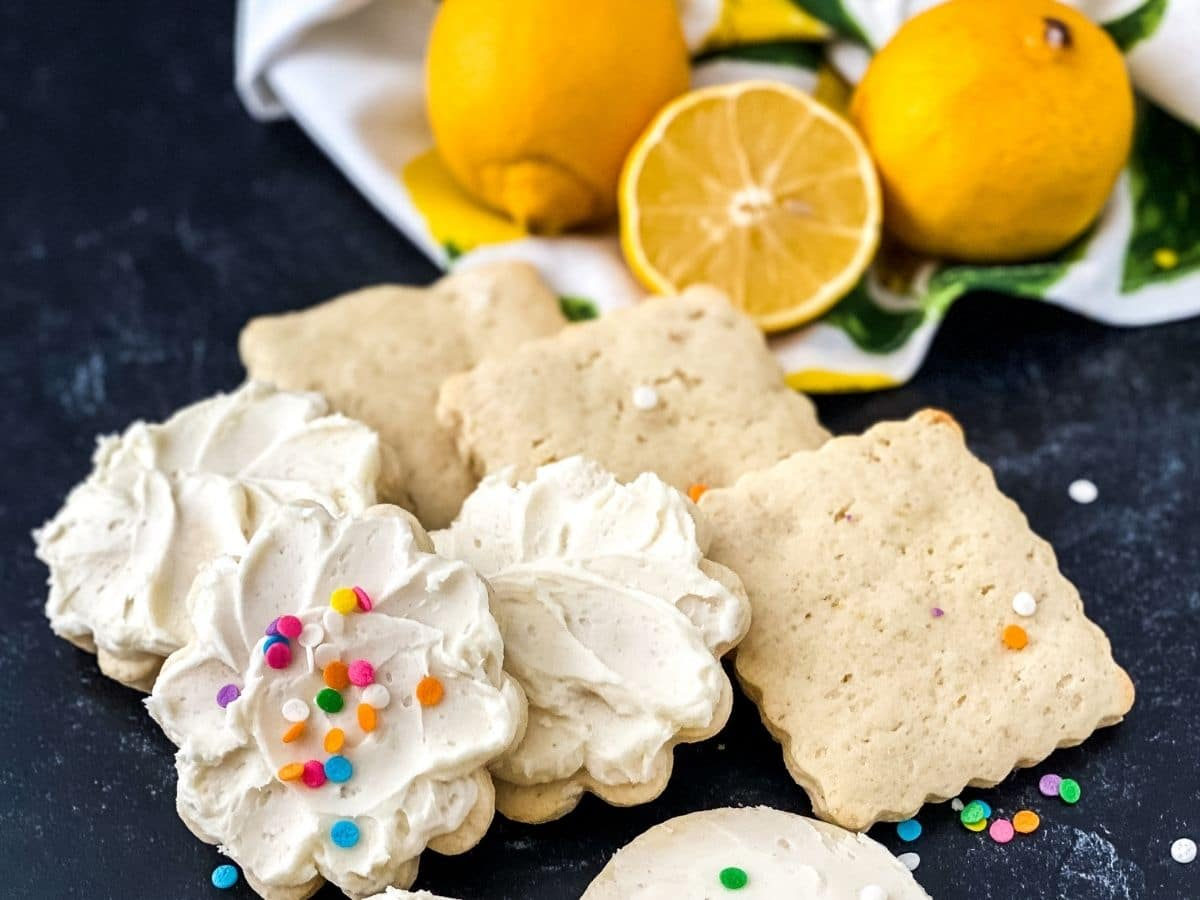 Unfrosted square cookies by frosted flower cookies