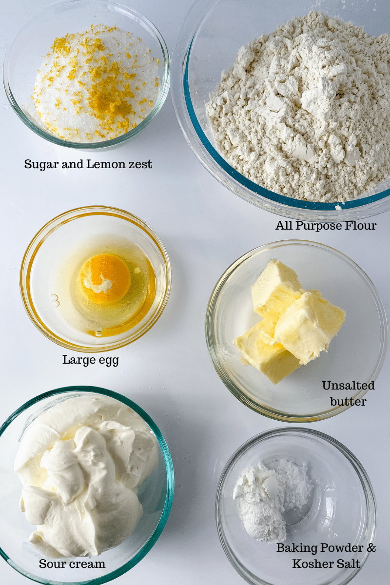 Ingredients for cookies in glass bowls on counter