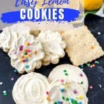 Lemon cookie pin with blue and white words saying sour cream easy lemon cookies