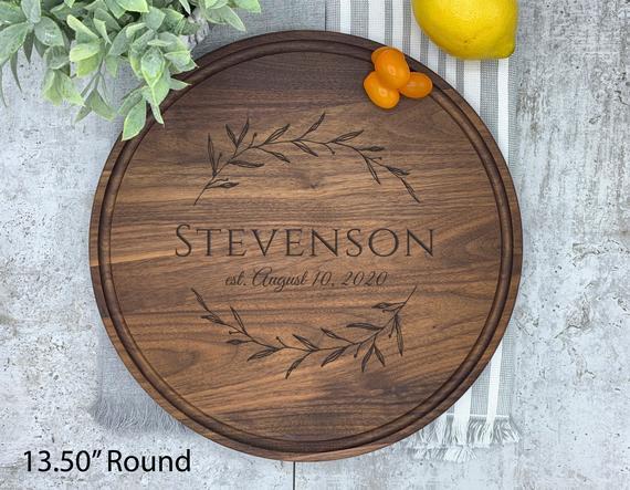 Charcuterie Board Round Large Walnut Cutting Board Round | Etsy