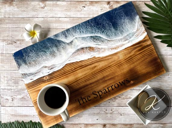 18 x 11 Large Wood Serving Board Ocean | Etsy