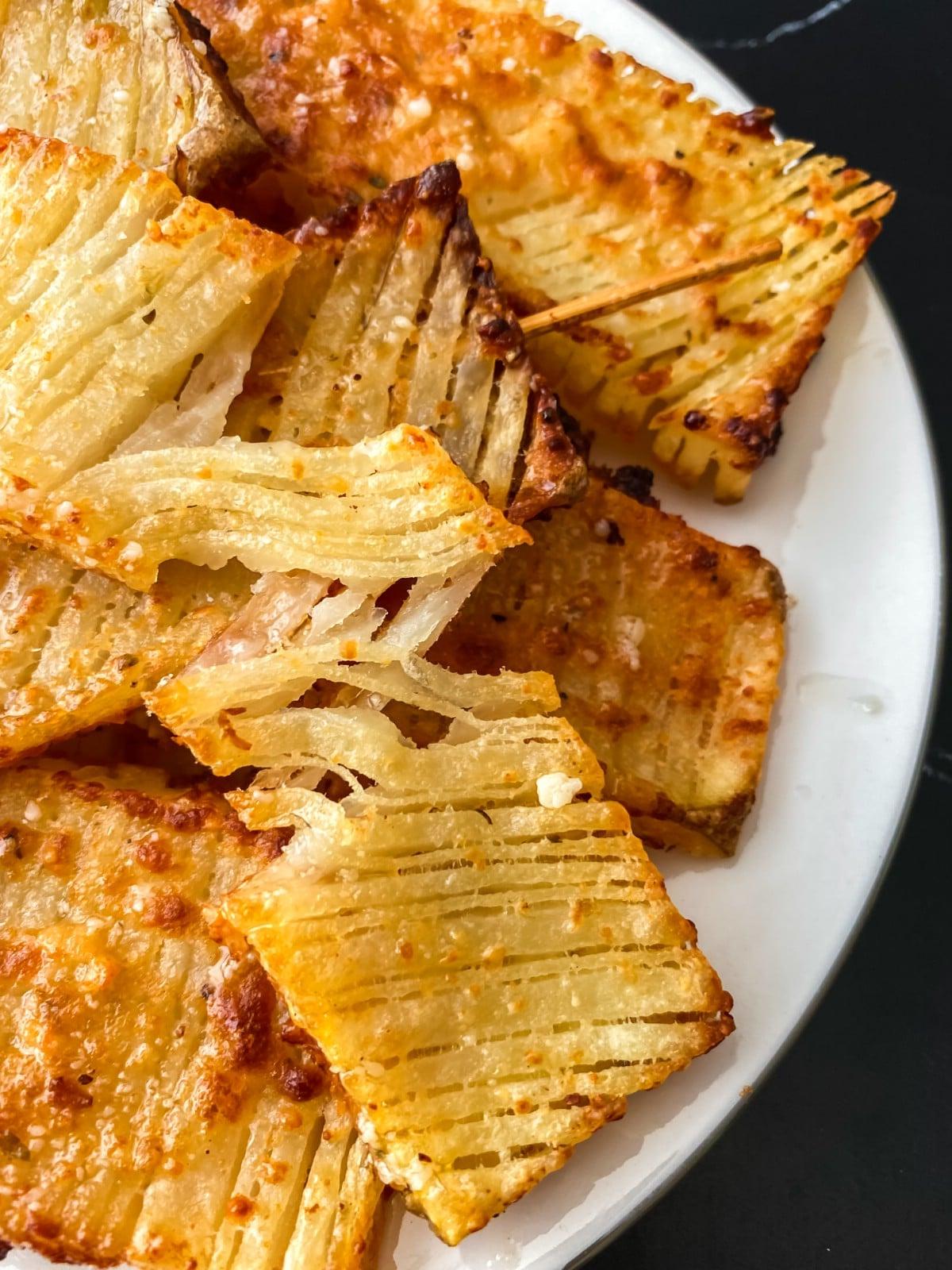 Crispy waffle fries on plate