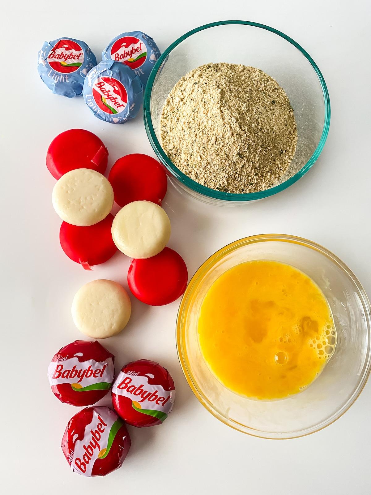Ingredients for air fryer baby bel cheese bites