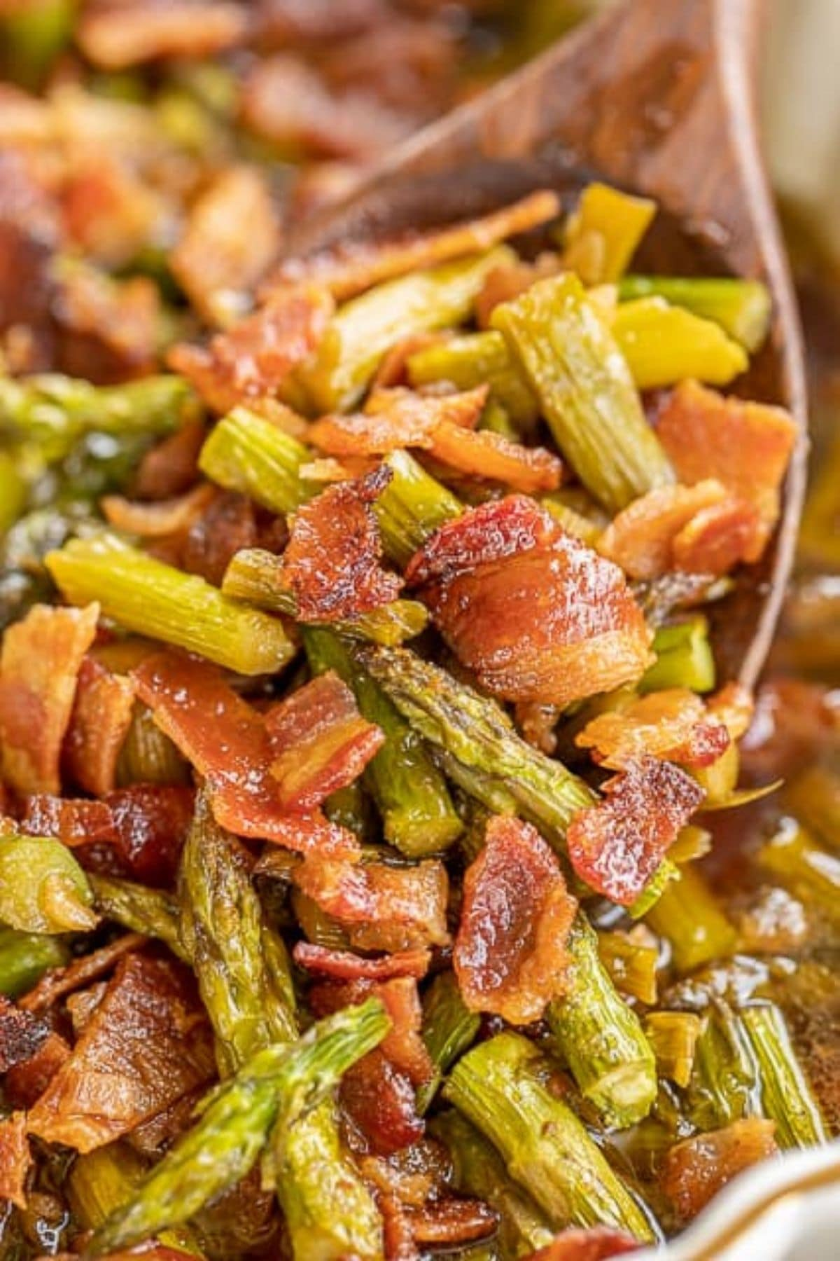 Spoon of bacon and asparagus