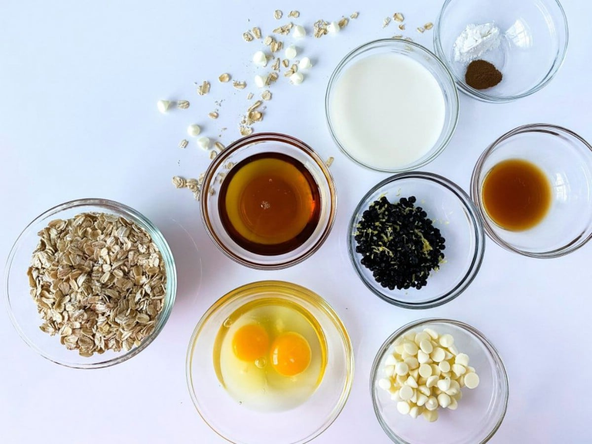 Ingredients for baked oatmeal on white counter