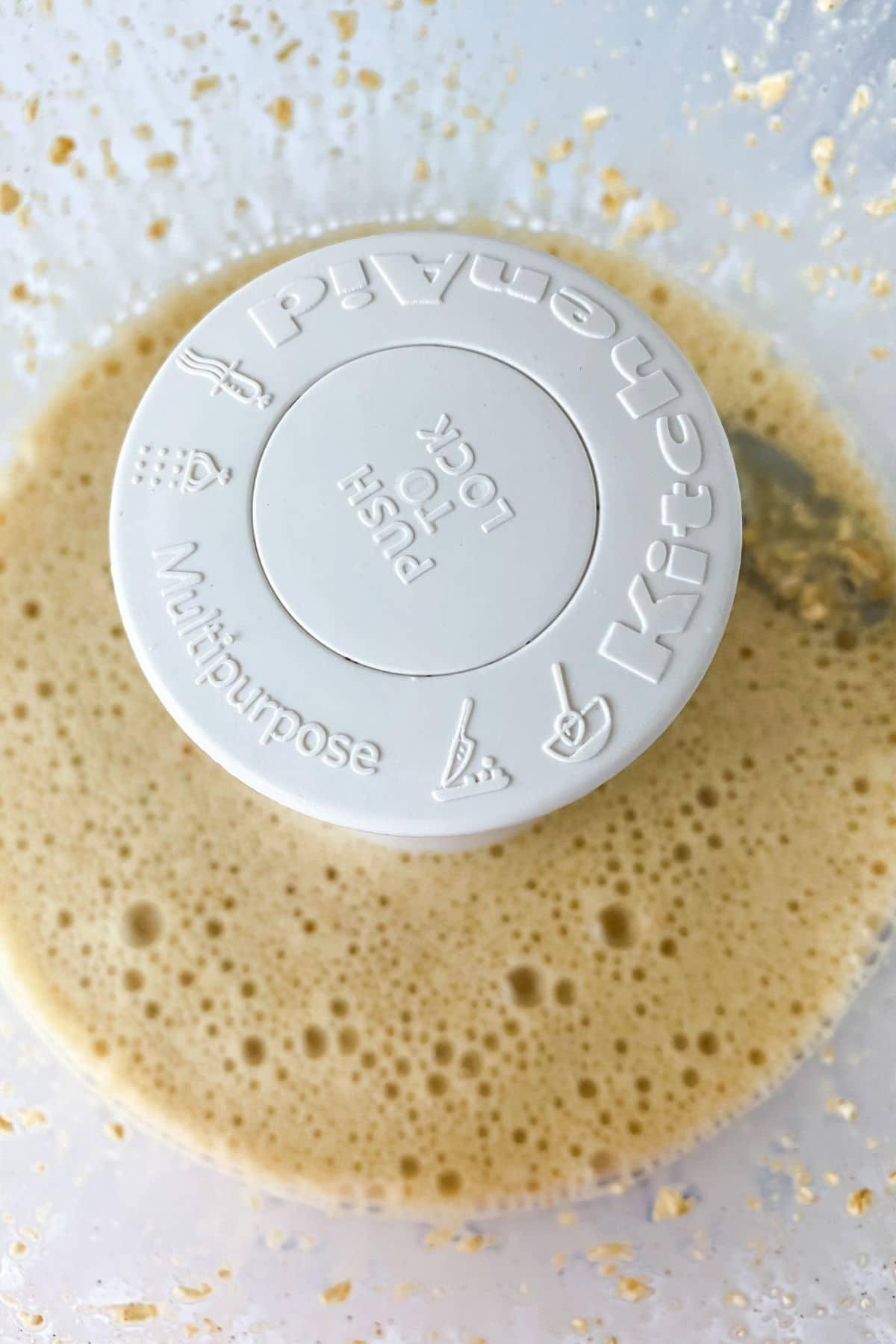 Liquid ingredients in food processor