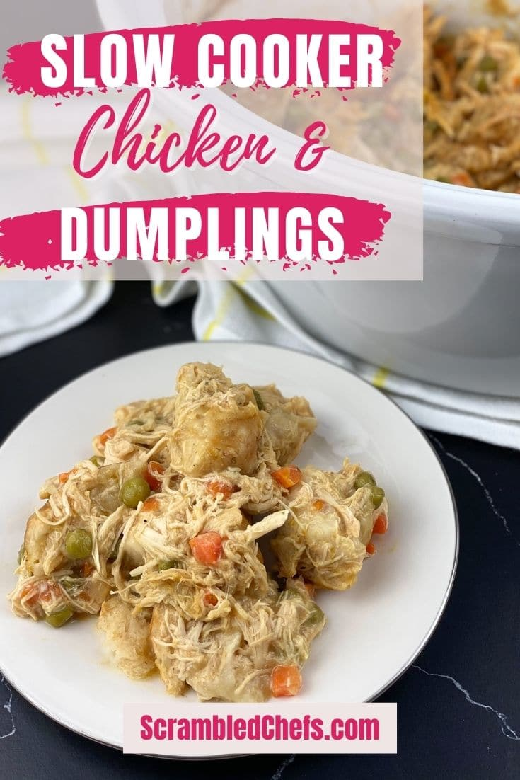 Chicken and dumplings on white plate with pink banner that says slow cooker chicken & dumplings