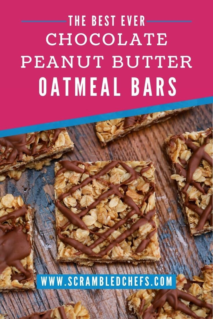 Oatmeal bars on dark wood table with pink banner that says chocolate peanut butter oatmeal bars
