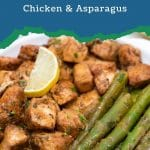 Blue frame that says garlic butter chicken and asparagus with plate of food