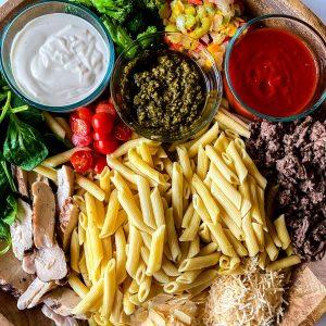 Overhead image of a pasta board