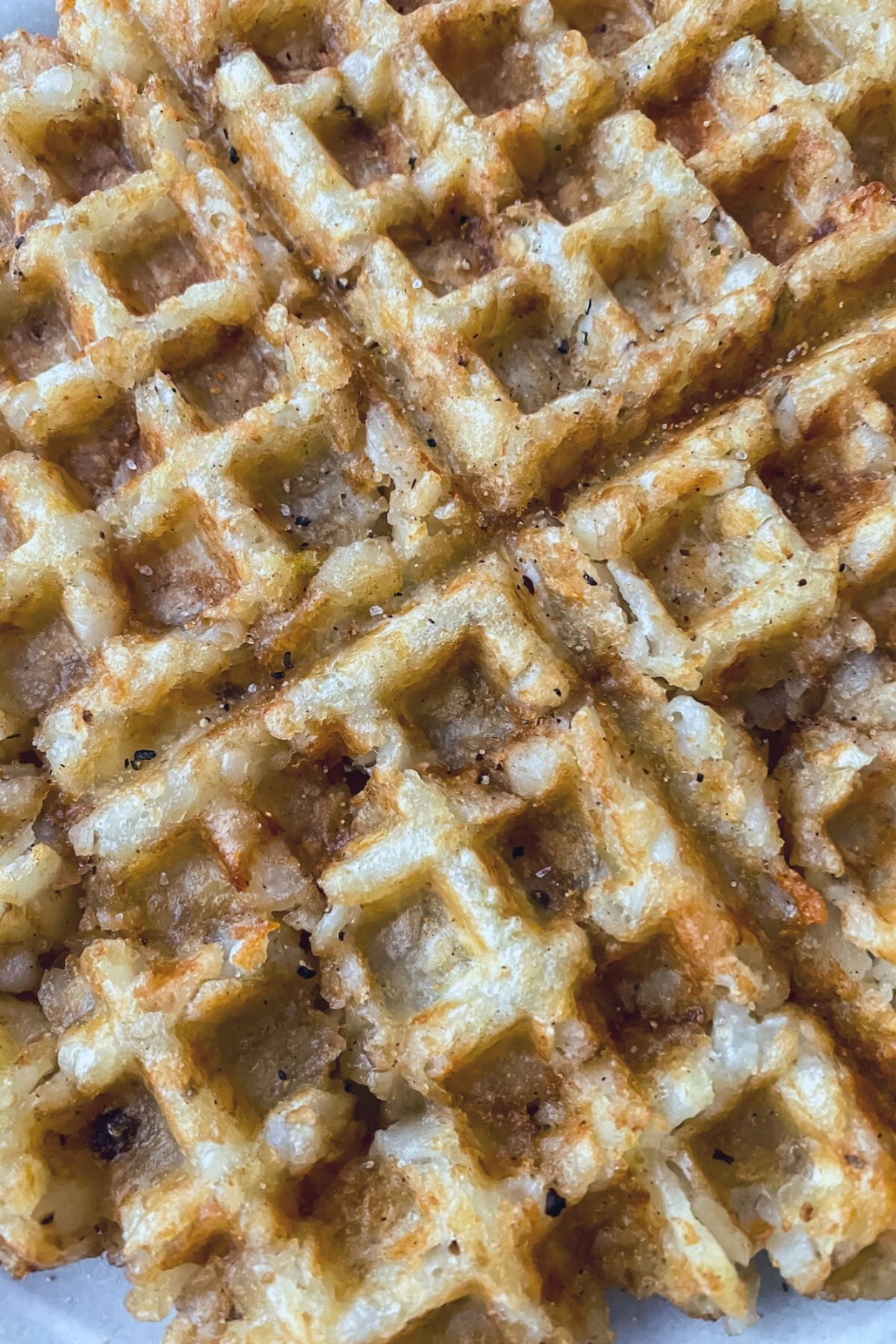 Waffle made of tater tots on plate up close