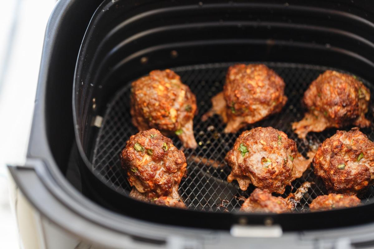 Meatballs in air fryer basket