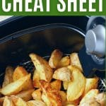 Air fryer basket filed with potato wedges