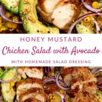 Chicken salad collage image with white banner and pink lettering on middle saying honey mustard chicken salad with avocado