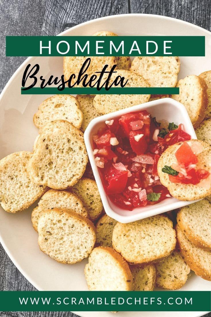Bruschetta on white plate with green banner saying homemade bruschetta