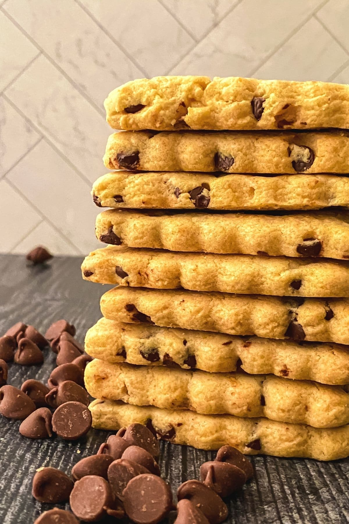 Close up of chocolate chip cut out cookies on table