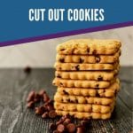 Blue banner saying the best ever chocolate chip cut out cookies over image of stack of cookies