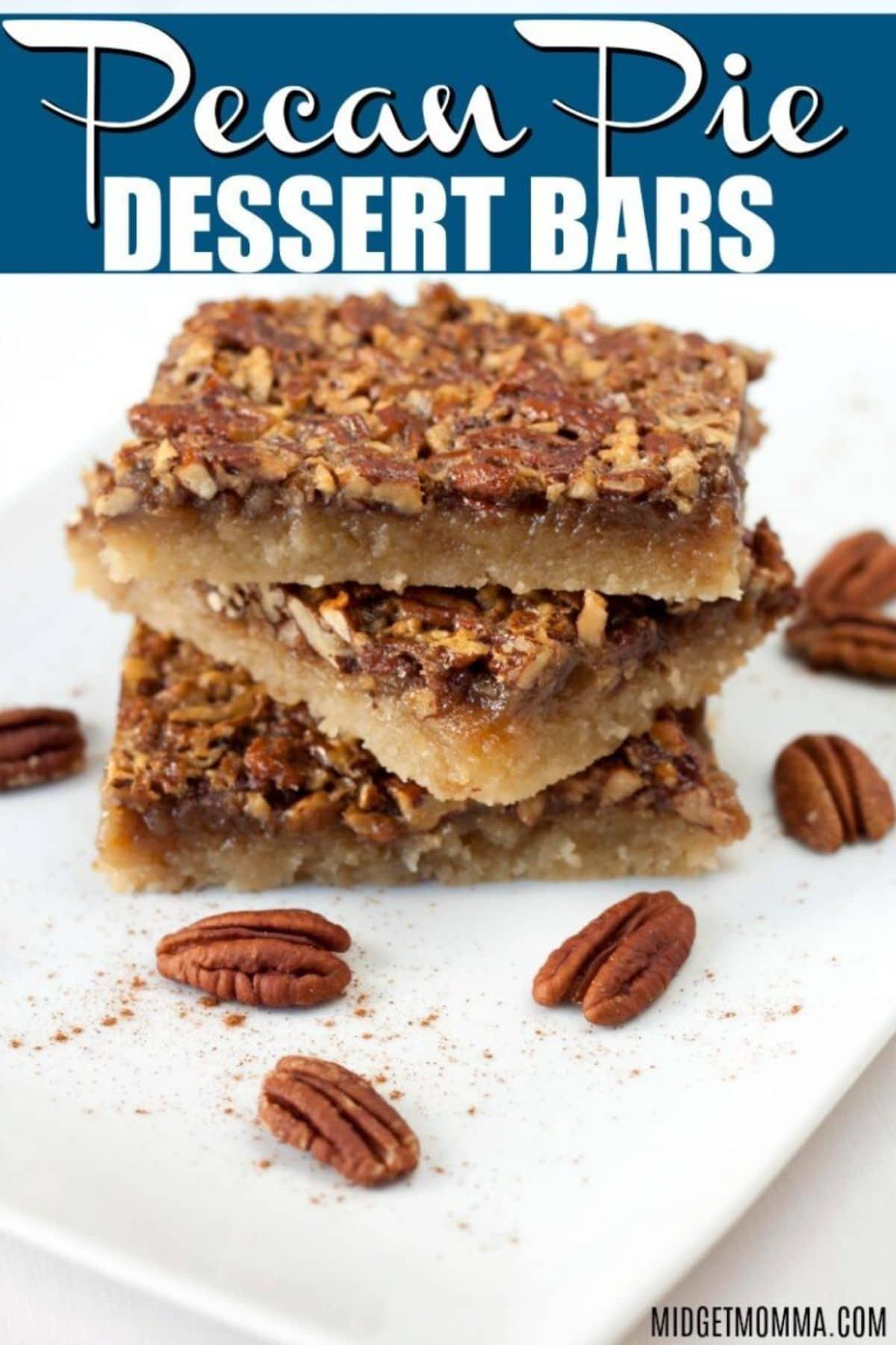Stack of pecan pie dessert bars