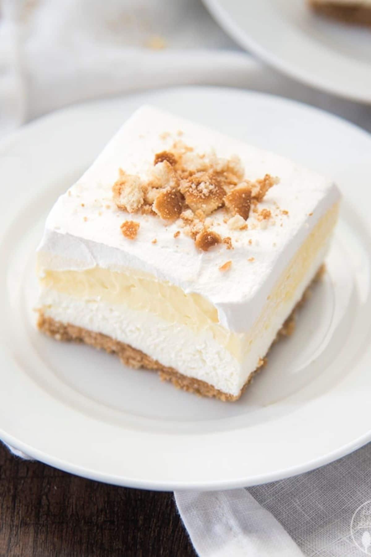 Banana pie bar on white plate