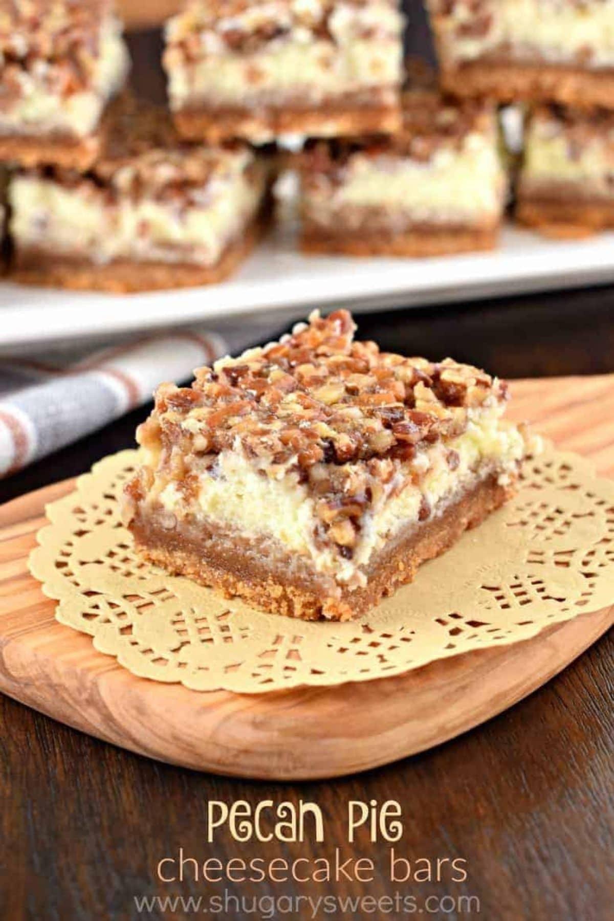 Dessert bar on doily on cutting board