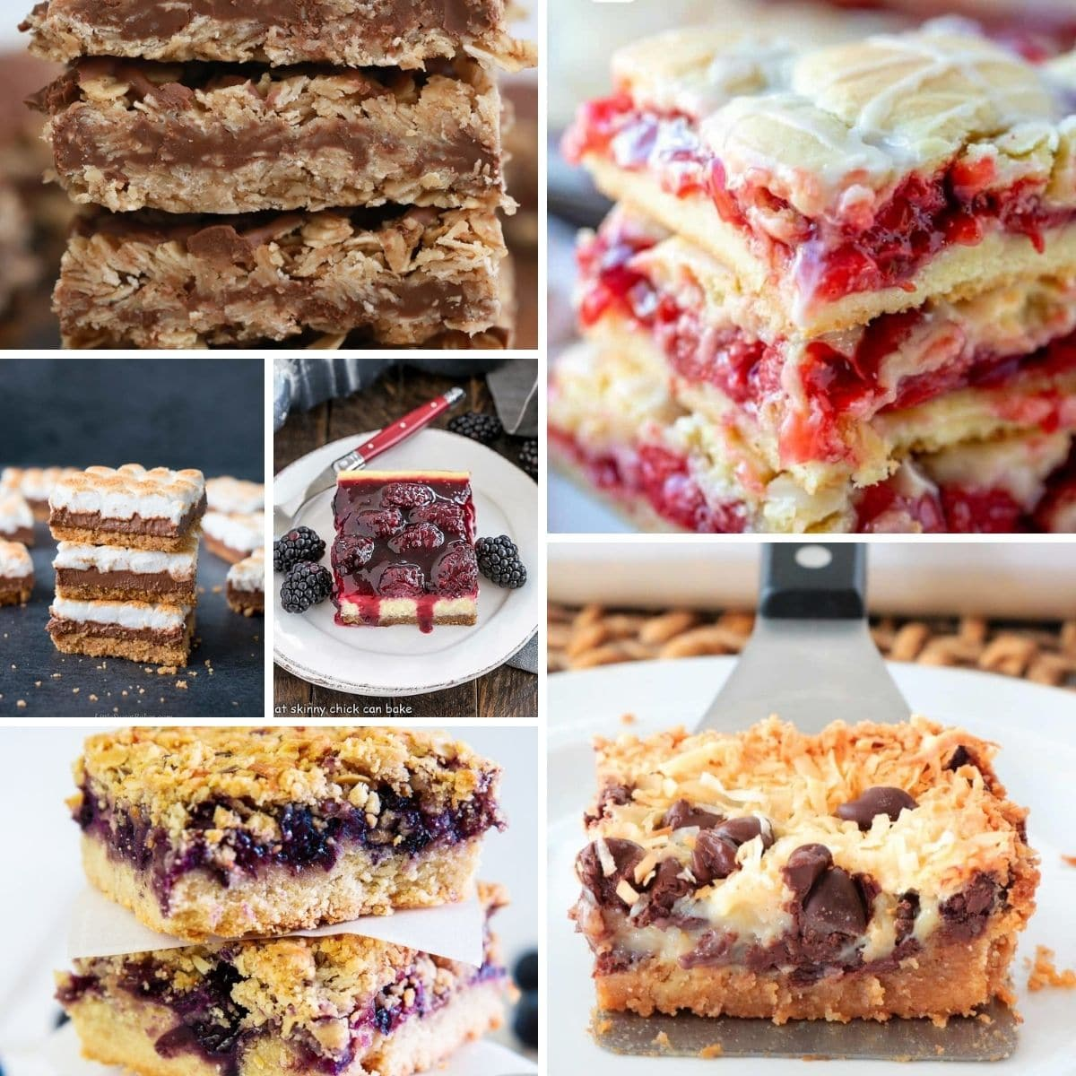 Collage image of dessert bars recipe images