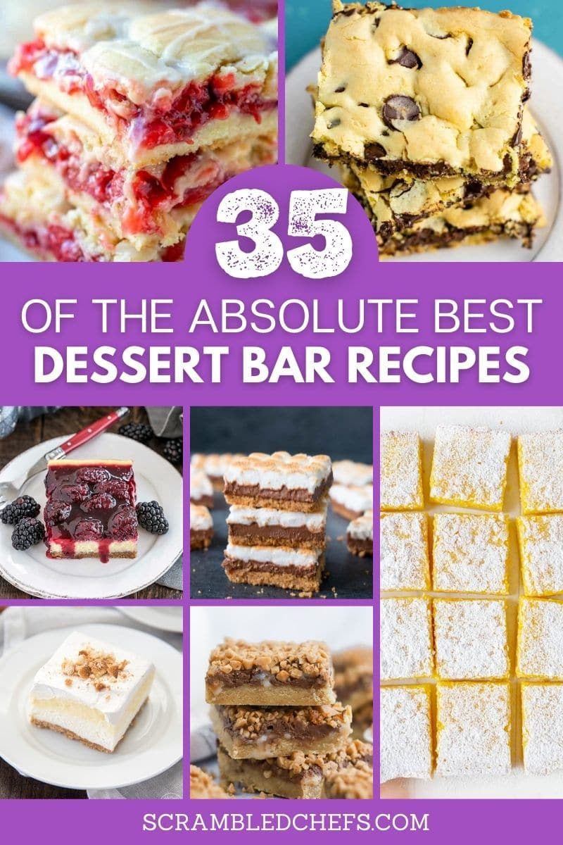 Collage of dessert bar images with purple banner saying 3 of the absolute best dessert bar recipes across center
