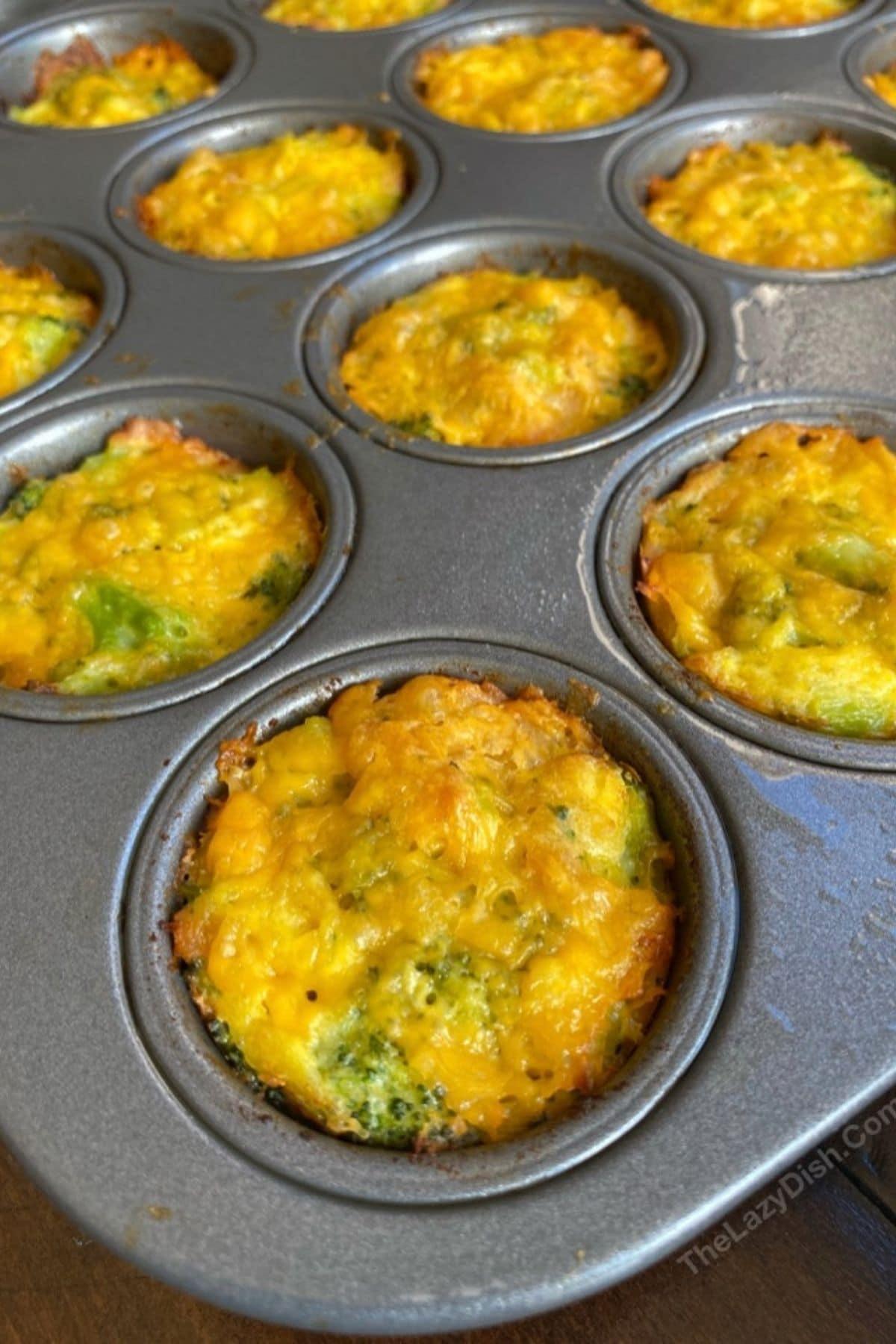 Broccoli cheese muffins in muffin tin