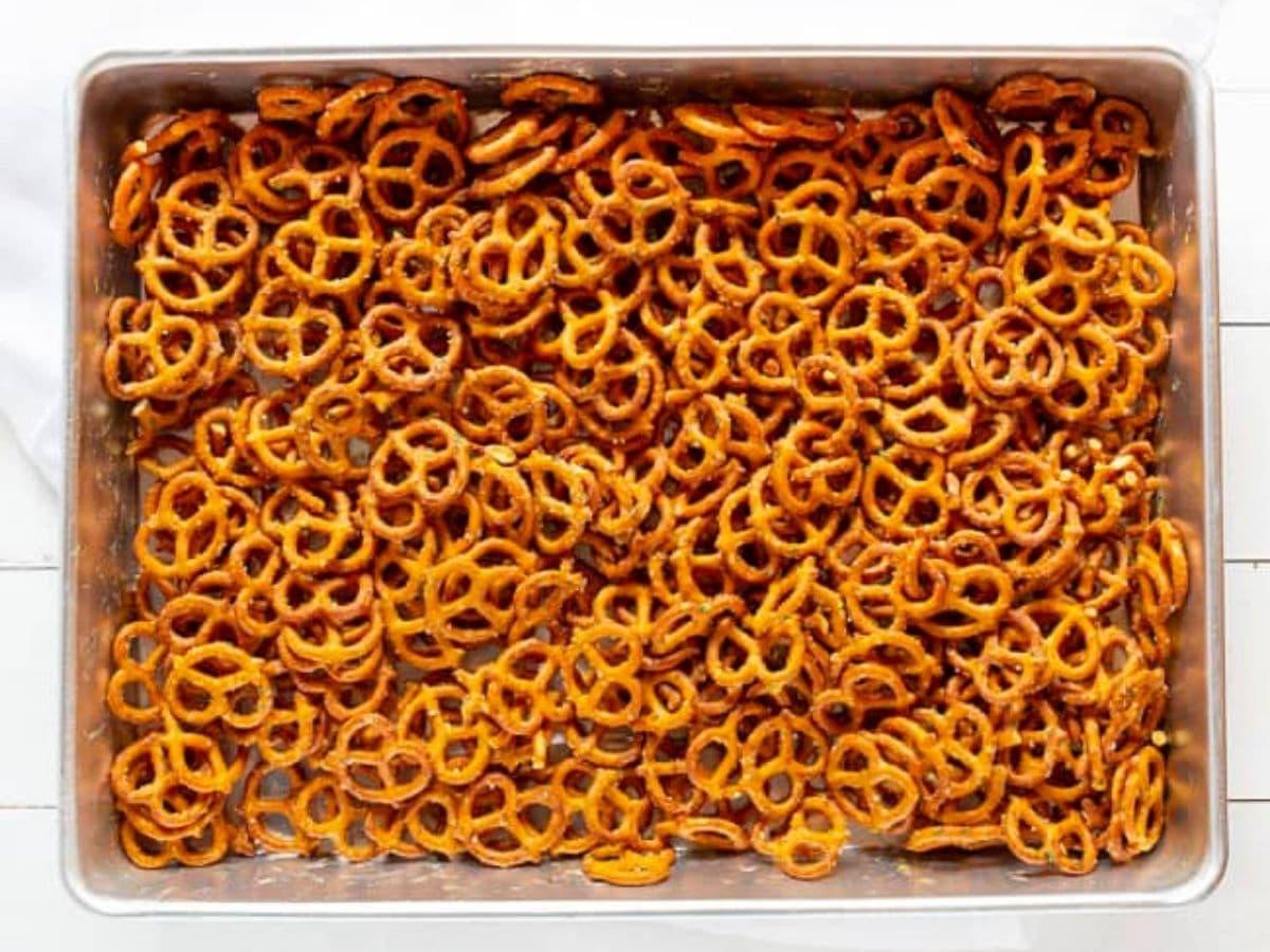 Sheet pan of ranch pretzels