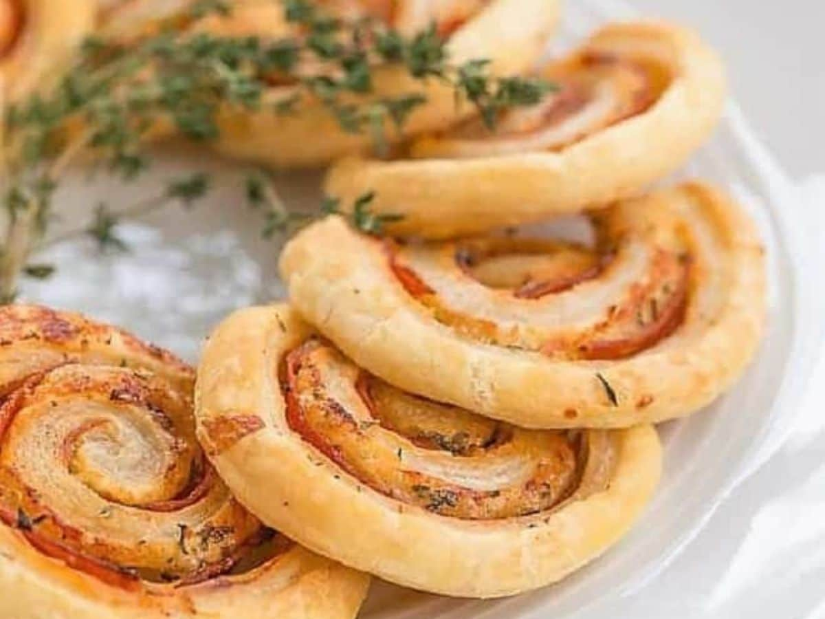 Bread pinwheels with pepperoni