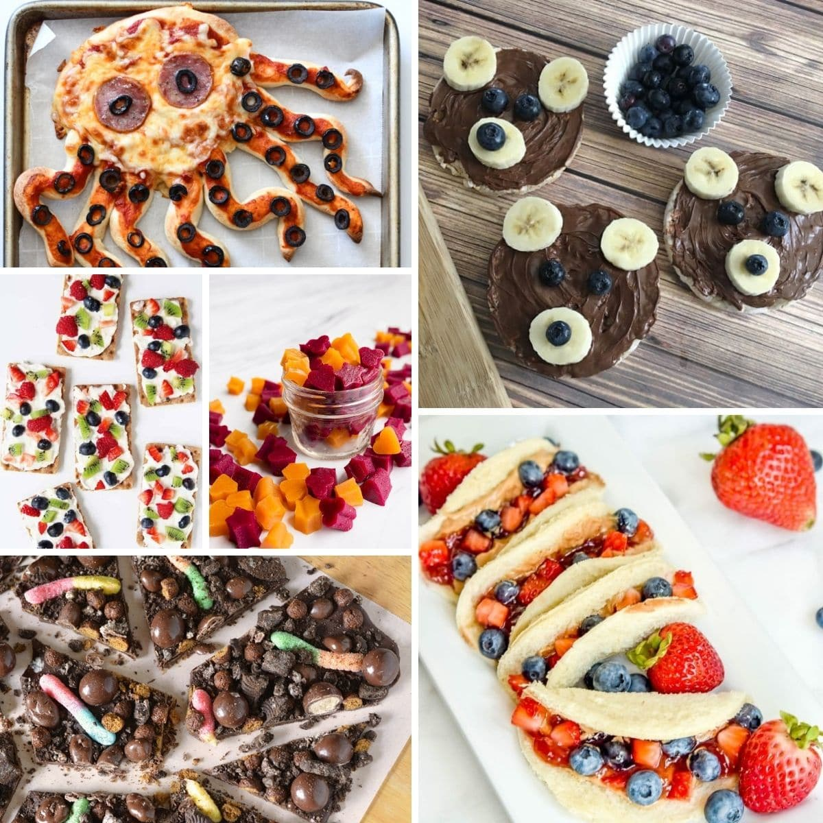 Square picture collage of various snacks for kids
