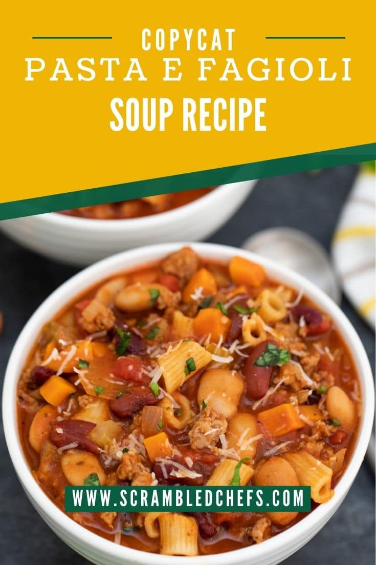 Pinterest image with white bowl of soup on bottom and yellow and green banner on top saying pasta e fagioli soup
