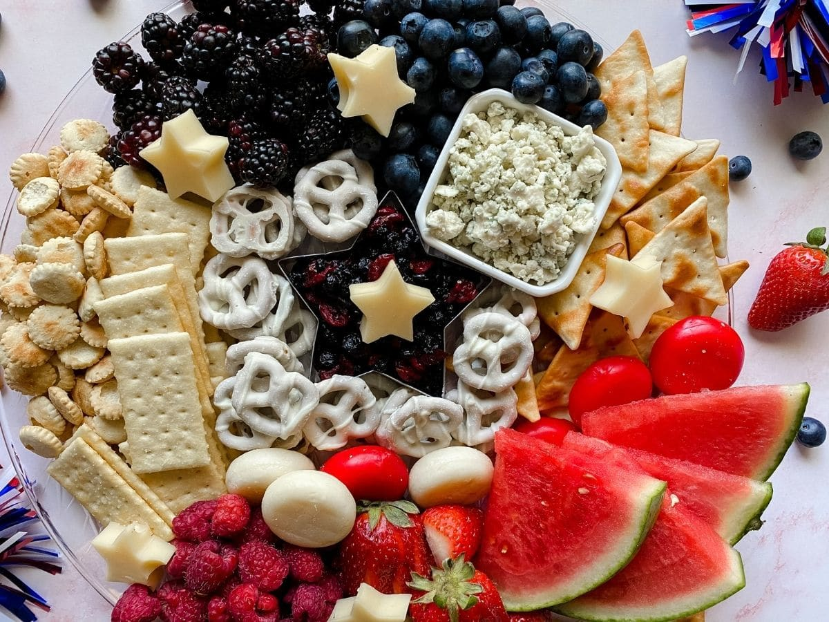 Patriotic charcuterie board on table