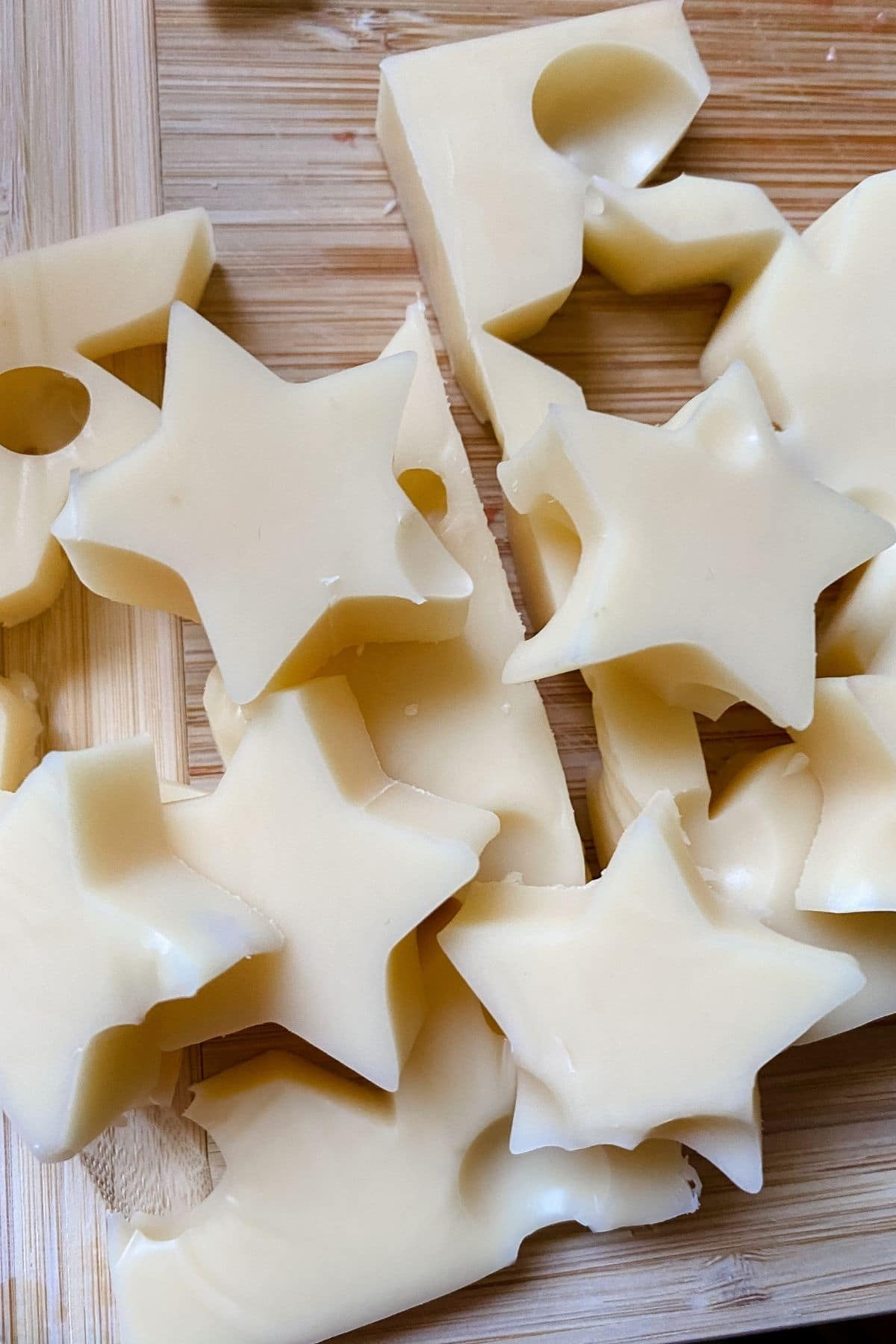 Star shaped cheese pieces